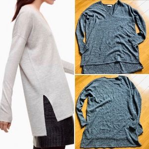Aritzia Babaton V-Neck Tunic Grey Heather